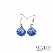 Orecchini pendenti con conchiglia blu e argento 55x20 mm
