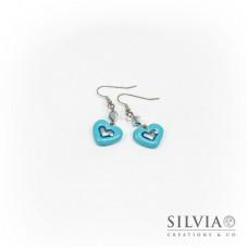 Orecchini pendenti con cuore azzurro medio