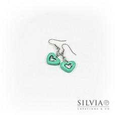 Orecchini pendenti con cuore azzurro Tiffany medio