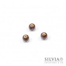 Perla in ceramica marrone lucida tonda 8 mm