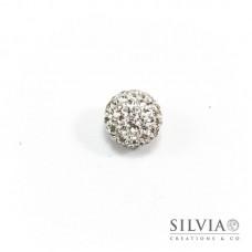 Perla pavé tonda in plastilina con strass cristallo da 12 mm