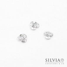 Perla argento in alluminio a forma di rosa da 10x6,5 mm x 50pz