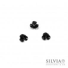 Perla nera in alluminio a forma di rosa da 10x6,5 mm x 50pz
