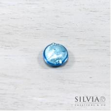 Perla in vetro di Murano color acquamarina bombata 15 mm