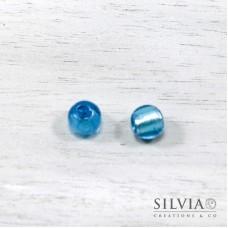 Perla in vetro di Murano color acquamarina tonda 10 mm