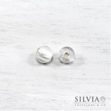 Perla in vetro di Murano color argento tonda 10 mm