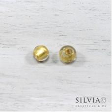 Perla in vetro di Murano color oro tonda 10 mm