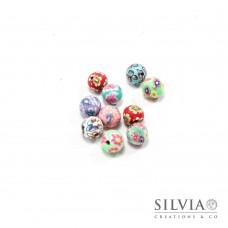 Perle multicolor in pasta polimerica da 8 mm x10 pz