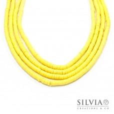 Filo di perle a disco giallo in pasta polimerica 6x1 mm