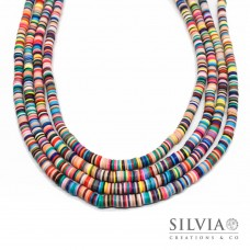 Filo di perle a disco multicolor in pasta polimerica 6x1 mm