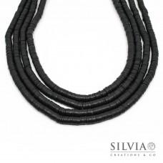 Filo di perle a disco color nero in pasta polimerica 6x1 mm