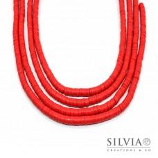Filo di perle a disco color rosso in pasta polimerica 6x1 mm
