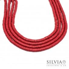 Filo di perle a disco color rosso scuro in pasta polimerica 6x1 mm