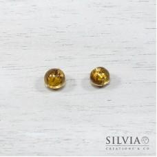 Perla in vetro foglia argento color topazio chiaro tonda 8 mm