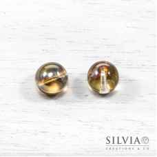 Perla in vetro color topazio chiaro ab tonda 14 mm