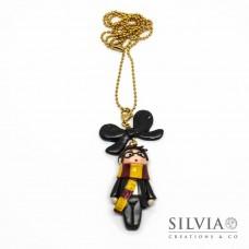 Collana lunga Harry Potter kawaii con catena oro in acciaio