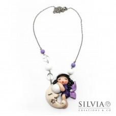 Collana Fatina viola e lilla con luna bianca e chiama angeli