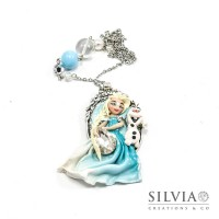 Collana Frozen Elsa e Olaf su cammeo ovale argento