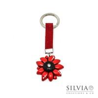 Portachiavi con fiore rosso e nero