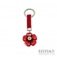 Portachiavi con fiore rosso e beige