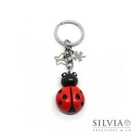Portachiavi coccinella rossa e nera con charms