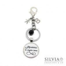 """Portachiavi con scritta """"Mamma ti voglio bene"""" simbolo infinito e charms"""