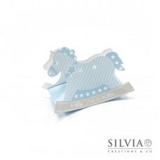 Cavallo a dondolo star azzurro per bomboniere 120x35x90mm