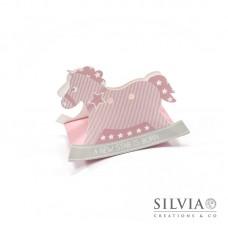 Cavallo a dondolo star rosa per bomboniere 120x35x90mm