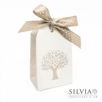 Scatolina a forma di tag con albero della vita per bomboniere