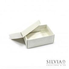 Scatola combinata pelle bianca per bomboniere 95x65x40mm