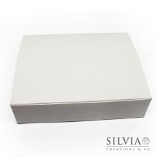 Scatola cornice pelle bianca per bomboniere 200x160x50mm