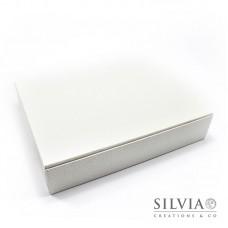 Scatola cornice pelle bianca per bomboniere 250x200x50mm