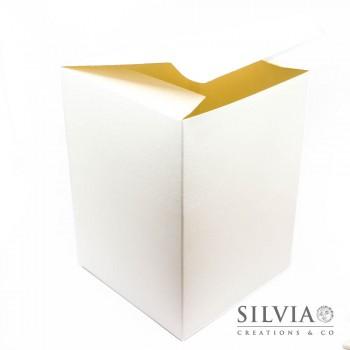 Scatola pieghevole seta bianca per bomboniere 140x140x200 mm