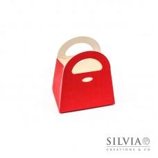 Scatola sportina seta rossa per bomboniere 80x60x90mm