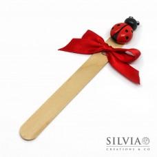 Segnalibro paletta di legno con coccinella rossa