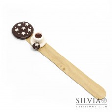 Segnalibro paletta  di legno con biscotto pan di stelle e tazzina