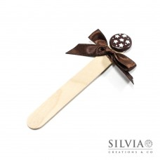Segnalibro paletta di legno con biscotto pan di stelle