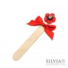 Segnalibro paletta di legno con fiore rosso e beige
