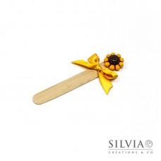 Segnalibro paletta di legno con girasole giallo