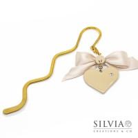 Segnalibro bacchetta oro con cuore beige e strass