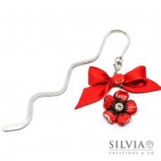 Segnalibro bacchetta rodio con fiore rosso e beige