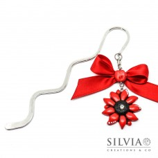 Segnalibro bacchetta rodio con fiore rosso e nero