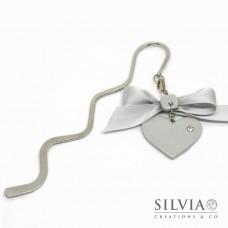 Segnalibro bacchetta rodio con cuore grigio e strass