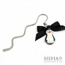 Segnalibro bacchetta rodio con pinguino