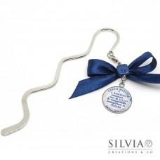 Segnalibro bacchetta rodio con frase per ringraziare la maestra colore blu