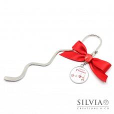 Segnalibro natalizio con scritta Merry Christmas e fiocco rosso