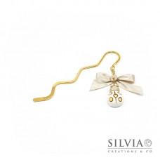 Segnalibro bacchetta oro con coccinella bianca e beige