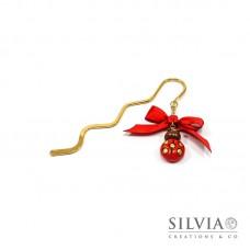 Segnalibro bacchetta oro con coccinella rossa