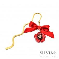 Segnalibro bacchetta oro con fiore rosso e beige