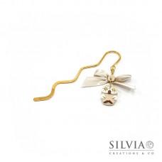 Segnalibro bacchetta oro con gufo beige
